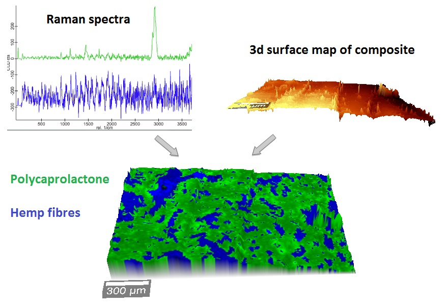 Exploring the microstructure of natural fibre composites by confocal Raman imaging and image analysis