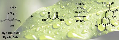Sustainable Synthesis of p-Hydroxycinnamic Diacids through Proline-Mediated Knoevenagel Condensation in Ethanol: An Access to Potent Phenolic UV Filters and Radical Scavengers